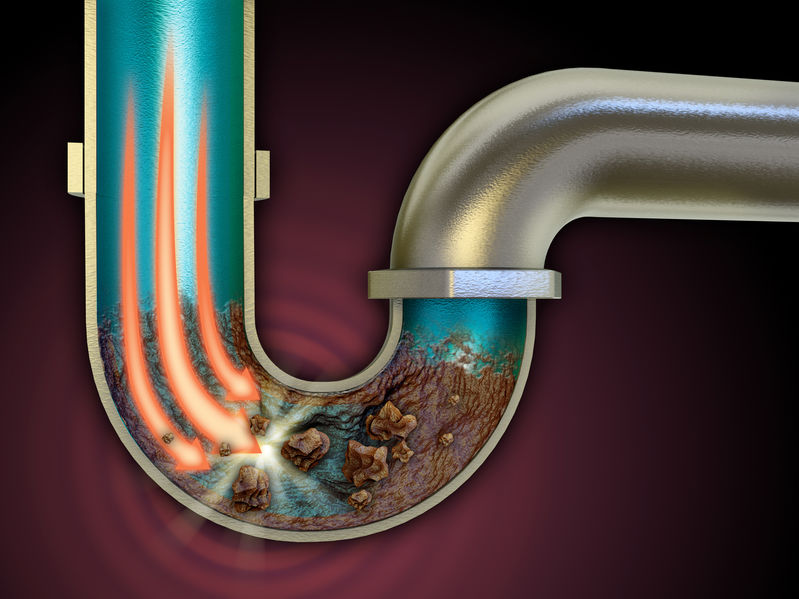 Chemical agent used to unclog some pipes. Digital illustration.